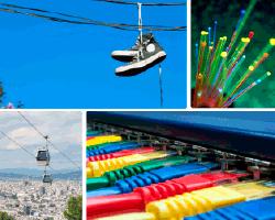 Apensar zapatillas colgadas en cables