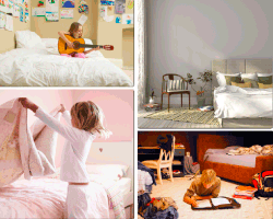 Apensar niña guitarra cama