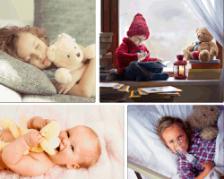 Apensar niña durmiendo con oso