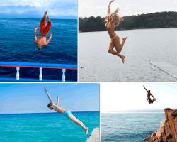 apensar saltando al agua