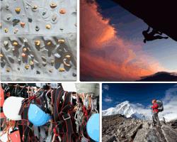 Apensar alpinista montaña