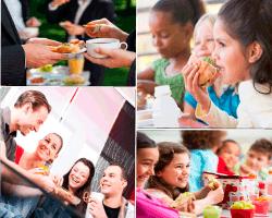 apensar gente comiendo