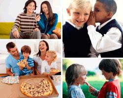 apensar familia comiendo pizza