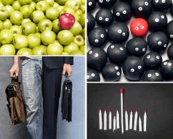 apensar manzanas verde y una roja
