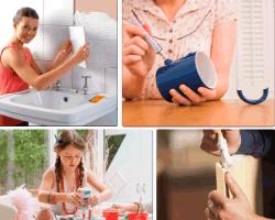 apensar mujer pegando ceramica