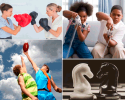 Apensar mujeres boxeando