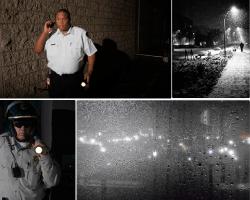 Apensar policía vigilando de noche