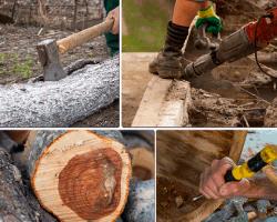 Apensar hacha cortando madera