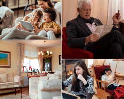 apensar madre e hijas viendo tablet